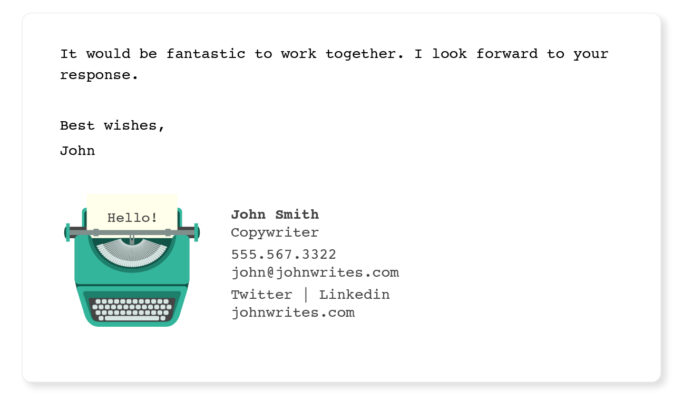 Writer email signature