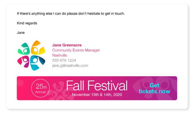 event managment signature email